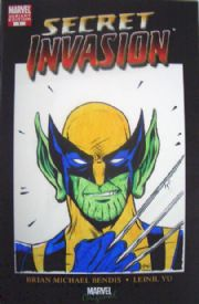 Secret Invasion #1 Convention Variant Wolverine Skrull Head Sketch Signed Golding